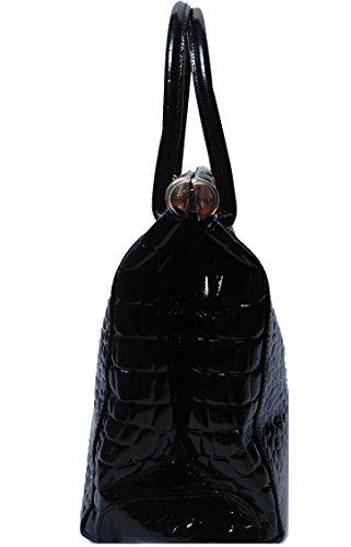 Borsa Donna in vera pelle laccata stampata cocco colore nero made in Italy
