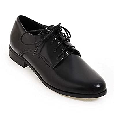 Bonrise Women¡¯s Perforated Lace-up Slip-On Comfortable Pointy Toe Oxford Low Heel Vintage Oxfords Shoes Black