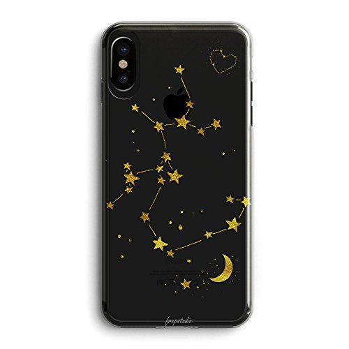 iPhone X Case Galaxy Zodiac,Cute Sagittarius iPhone X Funny Cute Starry Galaxy Moon Star Milkyway Sagittarius Zodiac iphone X Case-Cute Unique Zodiac Design iPhone X Clear Rubber Case for Girls Teens (Case Design Silver Stars)