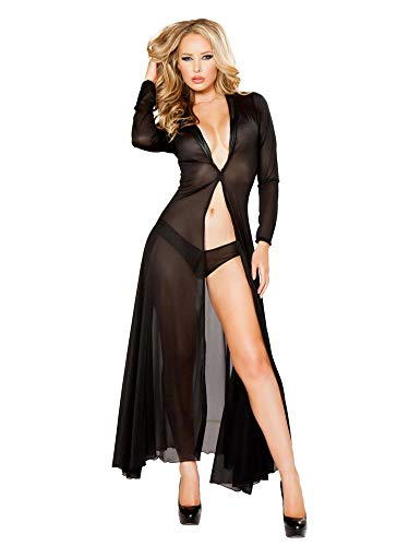 Roma Women's Plus-Size 2pc Long Sheer Robe with Hooks and Mesh Shorts, Black, 1X/2X