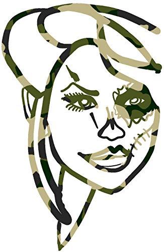hBARSCI Sugar Skull Makeup Vinyl Decal - 11 Inches - for Walls, Windows, Doors, Vehicles, Outdoor-Grade 2.5mil Thick Vinyl - Camo Print -