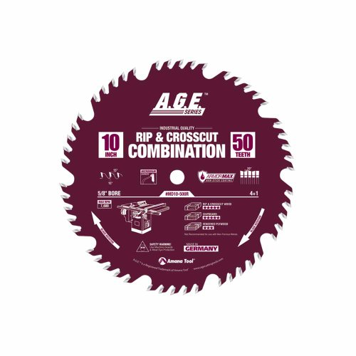 A.G.E. Series by Amana Tool MD10-500R Rip Crosscut Combination ArmorMax Non-Stick Coating 10-Inch x 50 Tooth 4+ 1-5/8-Inch Bore Saw Blade