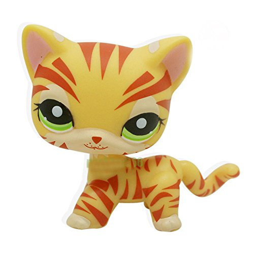 #1451 Rare Littlest Pet Shop Yellow Orange Tiger Cat Kitty Green Eyes LPS Toy Novelty Toys by Unbranded