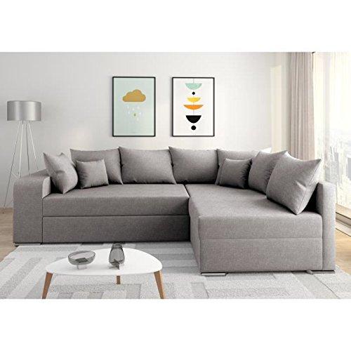 Axis Valencia sofá de ángulo Derecho Convertible 5 plazas - Tejido Gris Claro - contemporáneo - L 225 x p 185 cm: Amazon.es: Hogar