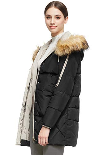 Orolay Women's Thickened Mid-Length Down Jacket with Removable Fur Hood Large Pockets