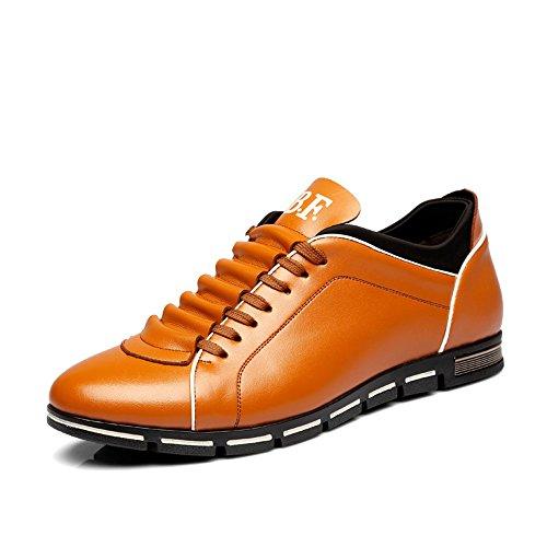 CUSTOME Hombre casual cuero PU Ata los zapatos zapatillas amarillo
