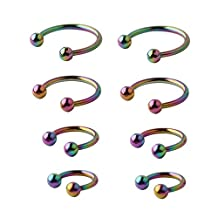 Chryssa 8pcs 16G 316L Surgical Steel Mix Size CBR Non-Piercing Fake Nose Septum Horseshoe Earring Eyebrow Tongue Lip Nipple Helix Tragus Piercing Ring 6,8,10,12mm (ED-79) (Rainbow)