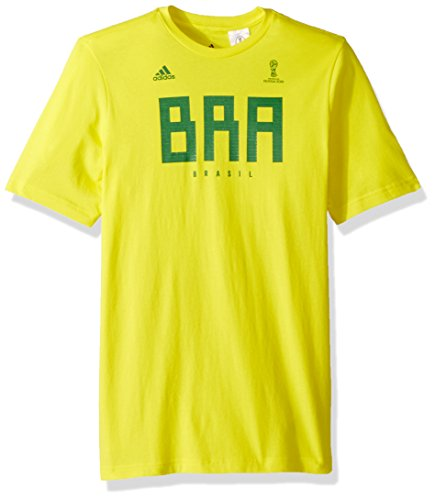 adidas World Cup Soccer Brazil Youth Boys Brazil Tee, X-Large, Bold Yellow
