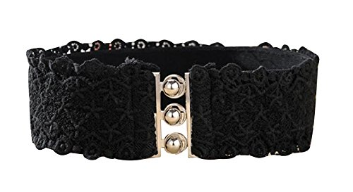 TRENDY XU Lace Wide Decorative Waist Belts Elastic Interlocking Buckles Waistband (Black) by Dress Waistbands Belt (Image #1)
