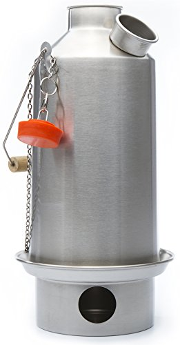 Camp Stove - Kelly Kettle:Stainless Steel - Boils Water Within Minutes, Uses Natural Fuel, and Enables You to Rehydrate Food or Cook a Meal - Large Base Camp