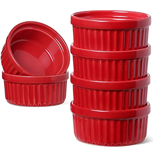 LE TAUCI 4 Oz Ramekins, Creme Brulee Dishes, Ramekin Set for Souffle, Dipping Sauces, Pudding, Set of 6, True Red