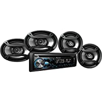 Pioneer DXT-X4969BT (Includes DEH-X4900BT) Bluetooth CD Car Stereo Receiver Bundle with Two 6.5 Speakers and Two 6 x 9 Speakers, w/ Remote