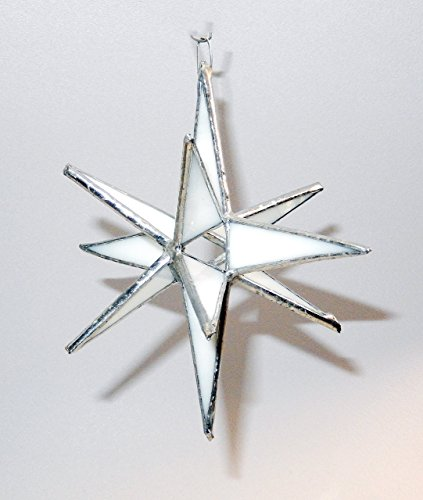 Satin Copper Classic Crystal - Snow white, iridescent Stained Glass Moravian Star