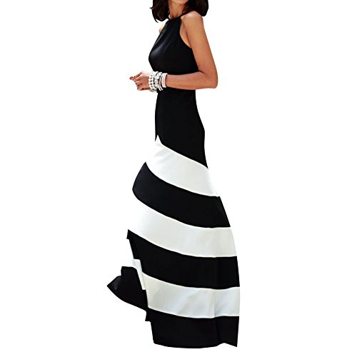 DB Women's Stripes Bohemia Summer Beach Long Skirt Maxi (Halter Sundress Dress)