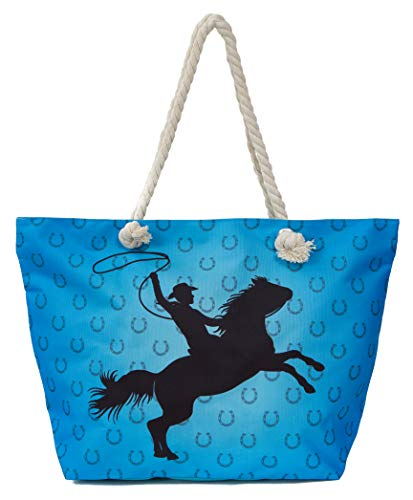 Leisureland Large Beach Tote Bag, Top Zipper Boat Bag (Cowboy/Horse, Blue)