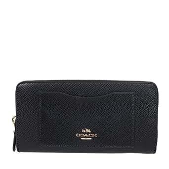 Coach Crossgrain Leather Accordion Zip Wallet - Black