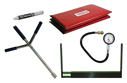 (NEW DELUXE RACING SOUTHWEST SPEED PIT KIT WITH TIRE STAGGER GAUGE, SPEEDY LUG WRENCH, BLUE PIT MAT, AIR PRESSURE GAUGE, AND TIRE MARKER, MODIFIED, LATE MODEL, STREET STOCK, GRAND NATIONAL)