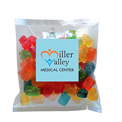 Candy Gift Pack-Gummy Bears with CUSTOMIZED in Personalized Small Label Pack-BULK Quantities of 250, 500, 1000, 2500 per…