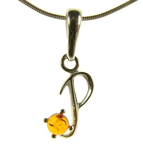 - BALTIC AMBER AND STERLING SILVER 925 DESIGNER ALPHABET LETTER P PENDANT JEWELLERY JEWELRY (NO CHAIN)