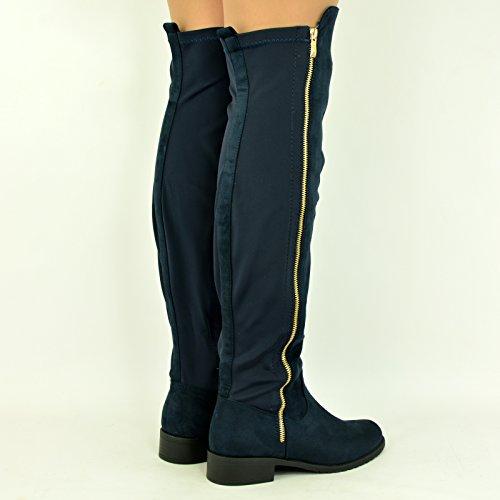 Cucu Fashion - Zapatillas altas mujer Blue Suede / Zip