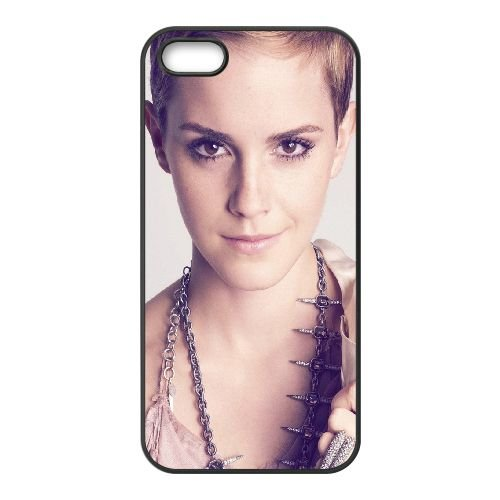 Emma Watson Face Hairstyle Actress Celebrity coque iPhone 5 5S cellulaire cas coque de téléphone cas téléphone cellulaire noir couvercle EOKXLLNCD23528