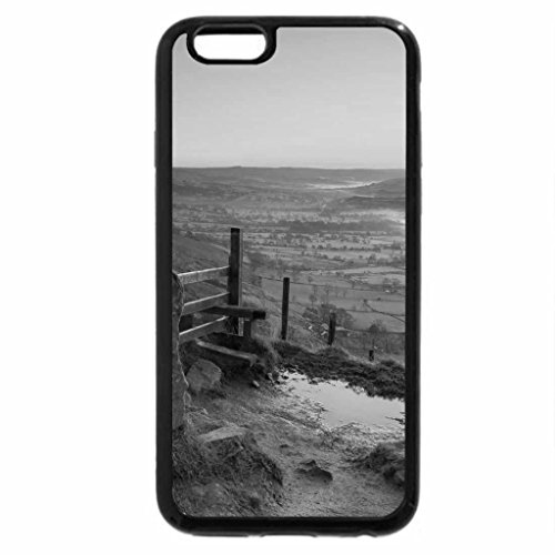 iPhone 6S Plus Case, iPhone 6 Plus Case (Black & White) - misty valley on a beautiful sunrise