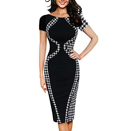 Women Colorblock Optical Illusion Short Sleeve Cocktail Work Pencil Dress Sexy Bodycon Business Dress Chaofanjiancai Black
