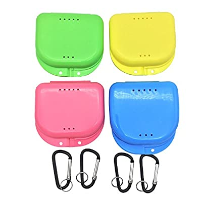 Mouth Guard Case, AIWAYING Orthodontic Dental Retainer Box,Carabiner Hook, Retainer with Case Air Vent Holes Denture Storage Container 4 Pack