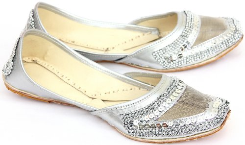 (Exotic India Silver-Color Mojaris with Net, Sequins and Beadwork - Multi ColorFootwear Size 3)