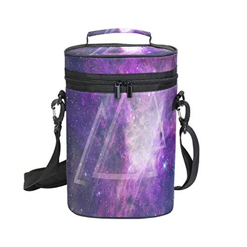 Insulated Wine Carrier Galaxy Triangle Purple Bottle Travel Padded Wine Carry Cooler Tote Bag with Handle and Adjustable Shoulder Strap ()