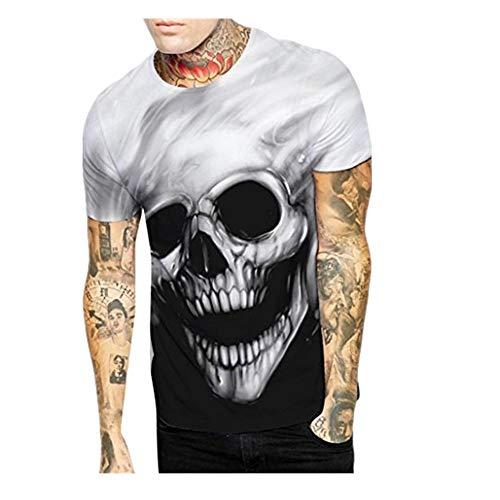 Mens T-Shirt Skull Printing Tees Shirt Short Sleeve Tops ()