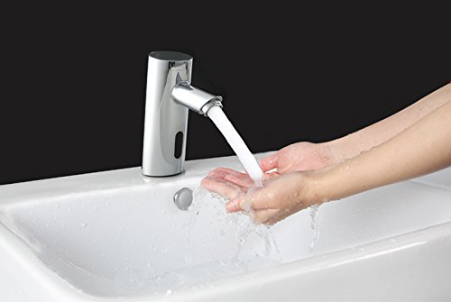 YAJO Modern Waterfall Spout Touch-Free Automatic DC Power Bathroom Vessel Sink Sensor Faucet Only Cold Mixer Faucet, Chrome Finish