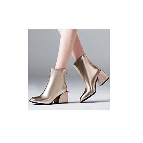 grassetto Capo Piazza Tinta pelle 39 spessa gold con stivali corto scarpetta moda rose unita classico in in scamosciata ppzBn4q6g