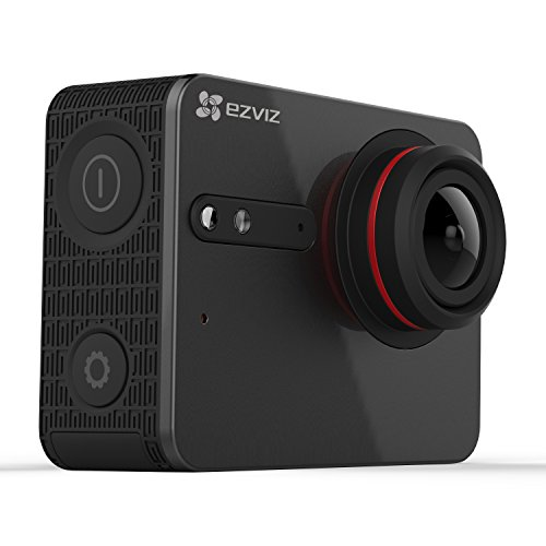 EZVIZ FIVE PLUS 4K Action Camera with Touchscreen - Black with Aluminum Lightweight Selfie Stick Action Cameras
