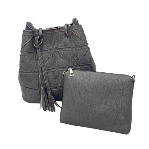 2 pièces/set femmes Tassel PU Sac à bandoulière en cuir de grande capacité colorée sac à main Sangle Sling Voyage Arichtop Gris