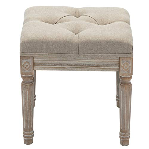 Chairus Square Ottoman Bench with Button Tufted Seat and Rustic Wood Legs, Fabric Small Vanity Stool for Bedroom Living Room, 15.75 , Beige