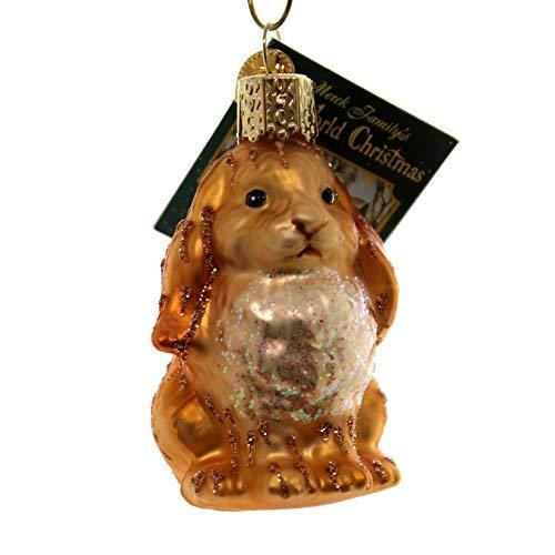Old World Christmas Baby Bunny Glass Rabbit Ornament 12365 Brown -