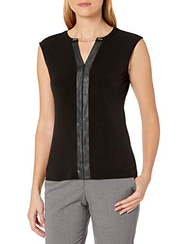 Calvin Klein Women's V-Neck Tank with Faux Leather and Chain, Black, Large from Calvin Klein