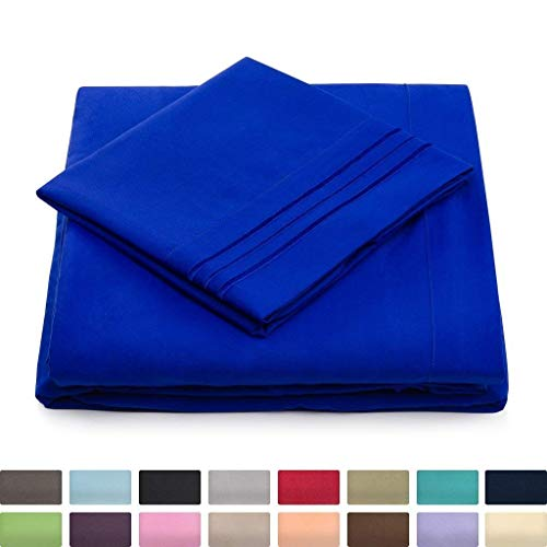 Full Size Bed Sheets   Royal Blue Luxury Sheet Set   Deep Pocket   Super Soft Hotel Bedding   Cool   Wrinkle Free   1 Fitted  1 Flat  2 Pillow Cases   Bright Blue Full Sheets   4 Piece