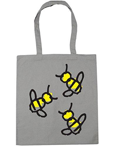 HippoWarehouse Bumblebee Trio Tote Shopping Gym Beach Bag 42cm x38cm, 10 litres Light Grey