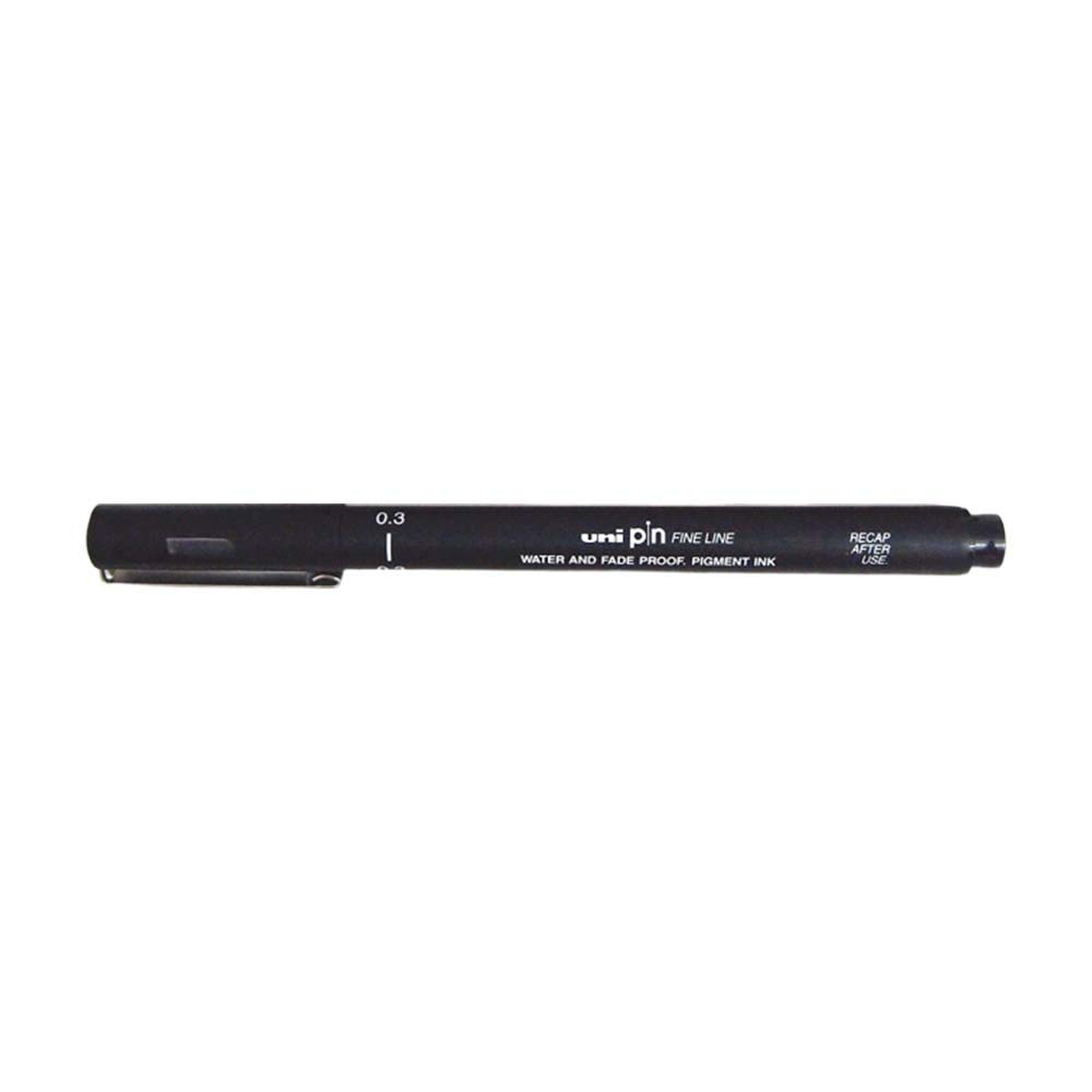 Uni Ball Pin Drawing Pen 0.3Mm - Black (Dozen Box) by uni
