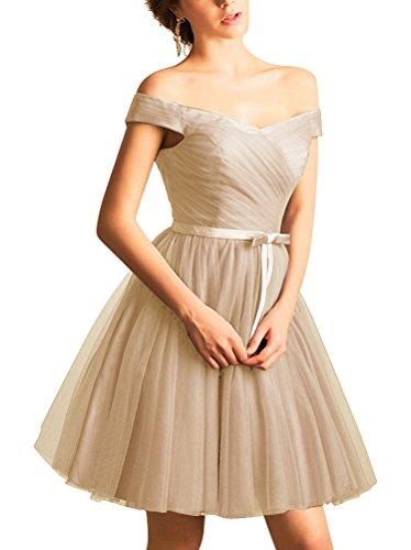 Kurz Abendkleid M Ab Elegante Schulter V dchen Ausschnitt Champagner f¨¹r wq0fI01An