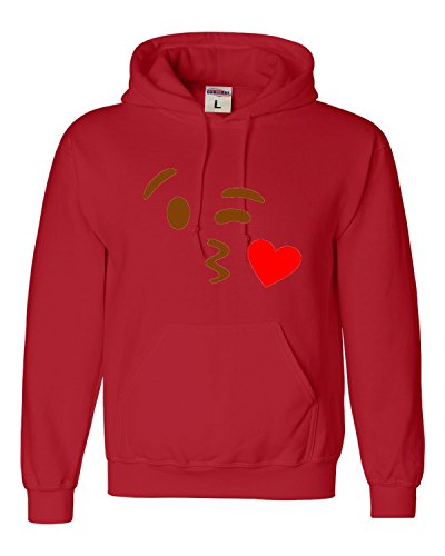 Medium Red Adult Kissy Face Emoji Emoticon Sweatshirt
