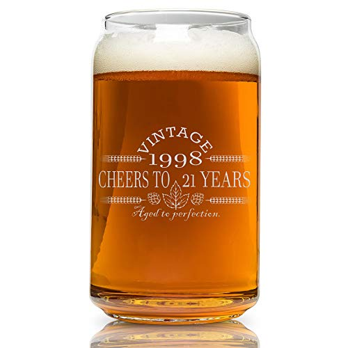 (21st Birthday- Vintage 1998 Beer Can Glass- Engraved-Vintage-Cheers-Aged To Perfection-Birthday Gift-Etched Beer Glass-Barware )