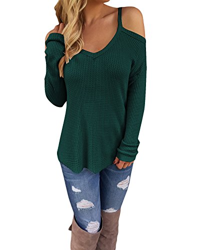 STYLEWORD Women's Off Shoulder Loose Casual Knitted Sweater Top (Green Sweater Top)