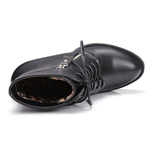 COOLCEPT Damen Mode-Even Schnürung Plateau Martin Stiefel Mit Reißverschluss Schwarz