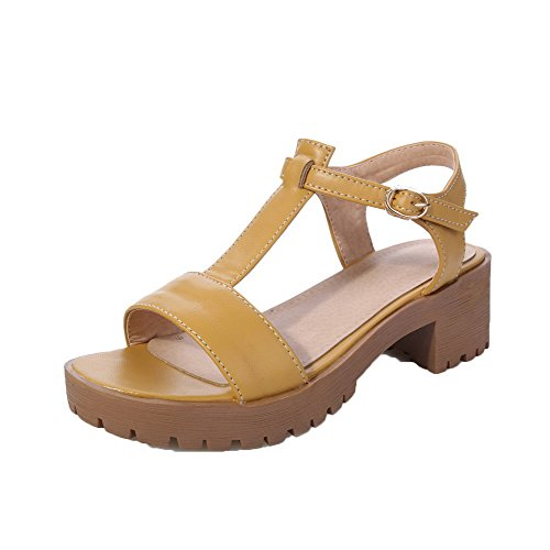 Vestir Abierta Material Mujeres Suave De Puntera Sandalias Agoolar Amarillo Gmxla007942 q0ZxI