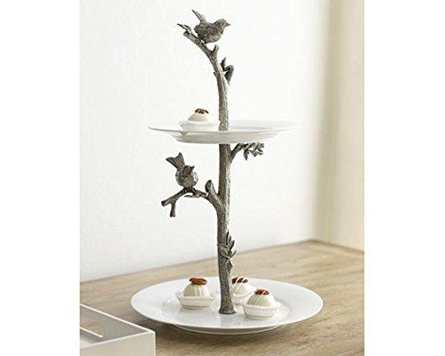 Vagabond House Pewter Song Bird Two Tier Dessert Stand 16