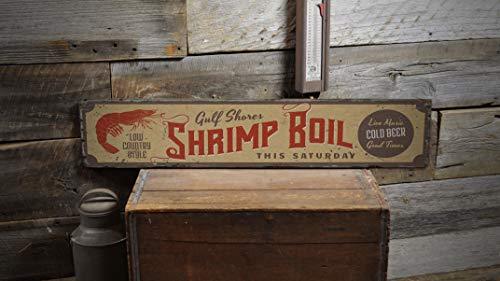 DASON Boiled Shrimp Signs Wooden Shrimp Sign Shrimps Lover Gift Custom House Decor Beach Room Sign Lodge House Vintage Handmade Wood Sign ()