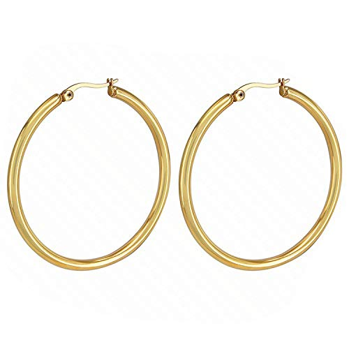 Guy-Sex12mm 80mm Big Circles Hoop Earring Gold/silver 316L Stainless Steel Hoop Earring Classic Round creoles Women jewellery Party,Silver,40mm